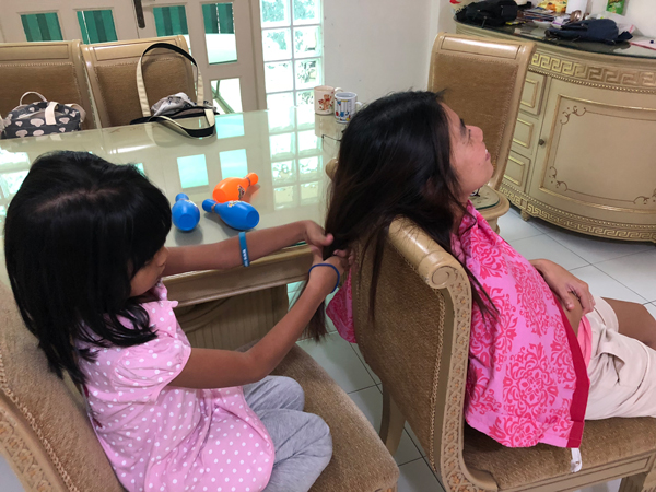 Channey being a hairstylist
