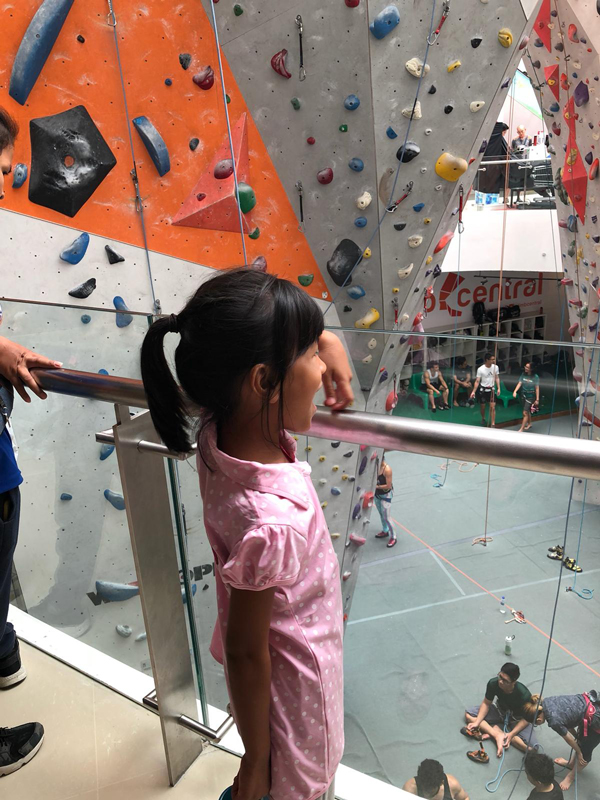 Channey watching the climbers