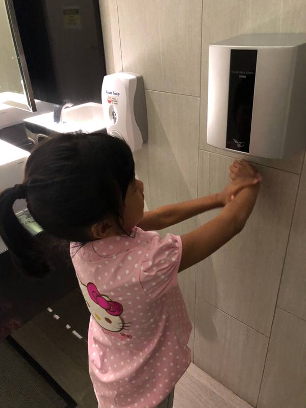 Channey drying her hands