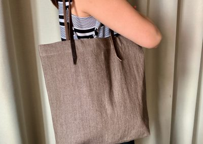 Brown Denim Tote Bag