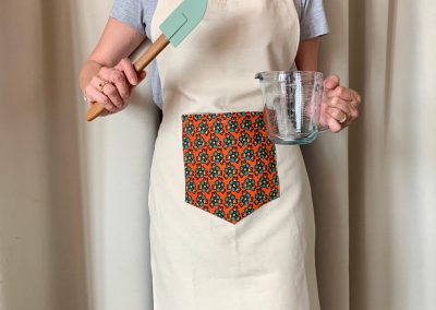 Cotton Linen Apron with West African Accent Front Pocket